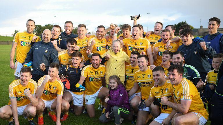 Antrim players celebrate at full-time
