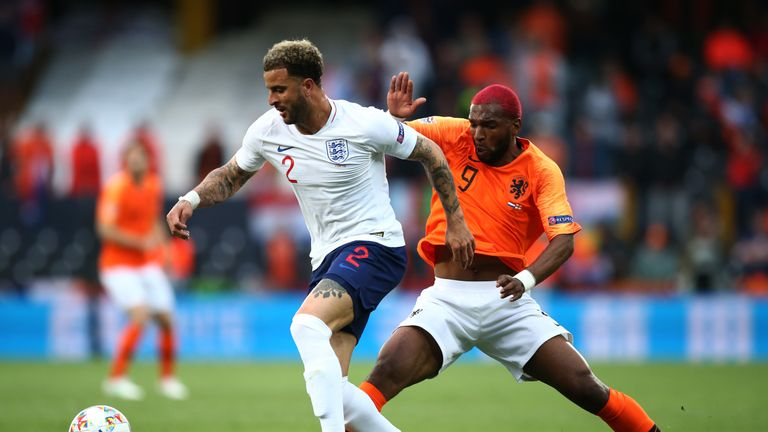 Babel challenges Kyle Walker during the Netherlands' Nations League win over England