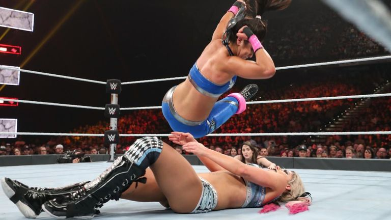 Bayley delivers a nifty Randy Savage-style top-rope elbow rope