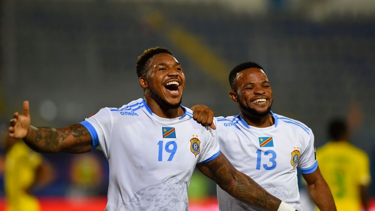 Britt Assombalonga scored his first international goal for DR Congo against Zimbabwe