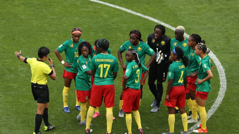 Cameroon's players initially refused to restart play after England's second goal was given by a VAR review