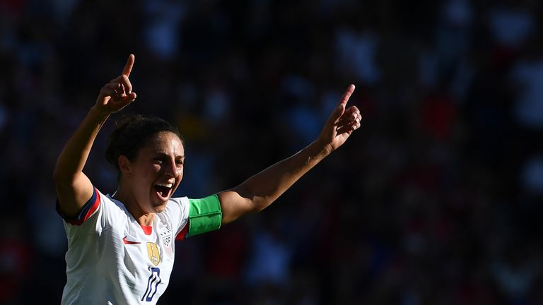 USA forward Carli Lloyd became a record breaker by netting in her sixth consecutive Women's World Cup game