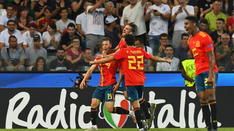 Dani Olmo scored the second for Spain in the U21 Euros final