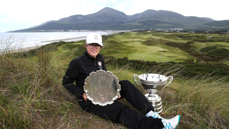 Emily Toy with the silverware after her win at Royal County Down