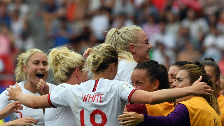 England Women celebrate during the 3-0 win over Cameroon