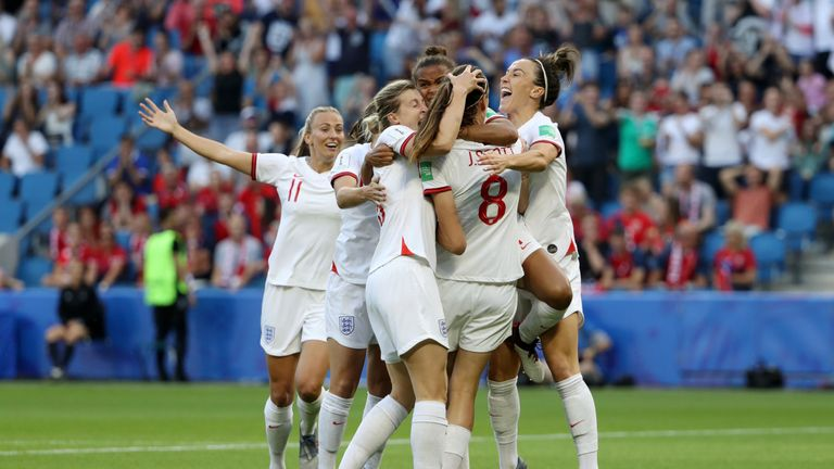 Jill Scott celebrates scoring against Norway at the World Cup with her England team-mates