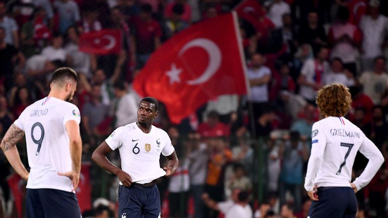 Paul Pogba and Olivier Giroud look dejected as France go 2-0 down against Turkey