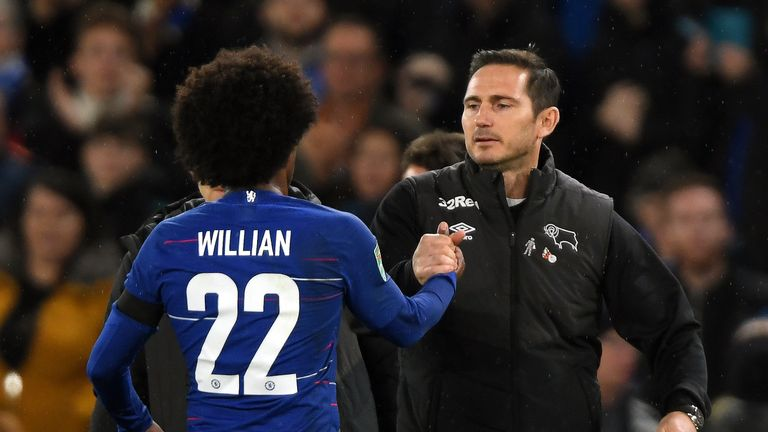 Willian played against Frank Lampard's Derby in the Carabao Cup last season