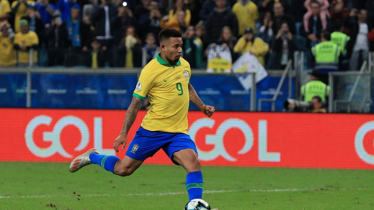Gabriel Jesus side-foots home Brazil's winning penalty