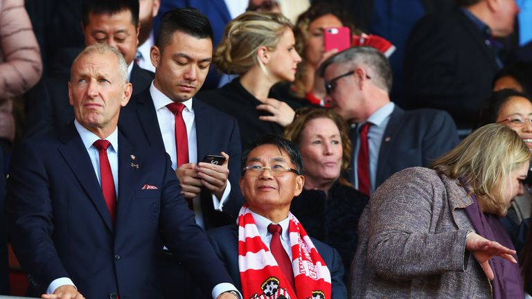Gao Jisheng attending a game at St Mary's between Southampton and Man Utd