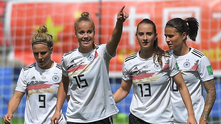 Germany defender Giulia Gwinn (centre) celebrates after scoring the decisive goal against China
