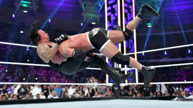 Goldberg speared Undertaker twice in quick succession early in their match at Super ShowDown