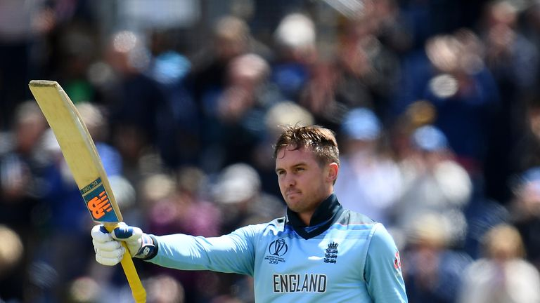 Jason Roy acknowledges the applause for his century