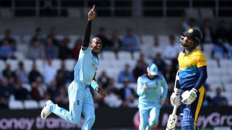 Jofra Archer of celebrates after taking the wicket of Sri Lanka opener Dimuth Karunaratne