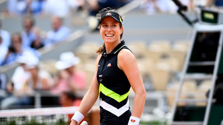 The Brit is all smiles after recording her third win in three meetings against Stephens