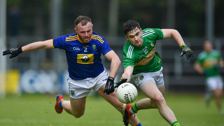 Ryan O'Rourke of Leitrim in action against Eoin Murtagh of Wicklow