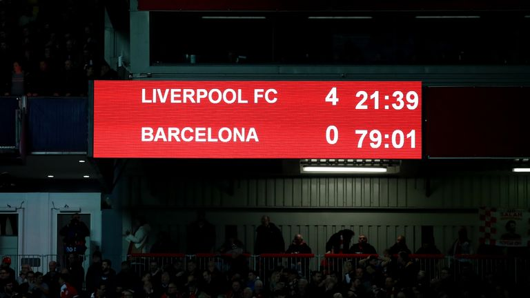 Liverpool's Anfield stadium also currently only possesses a scoreboard
