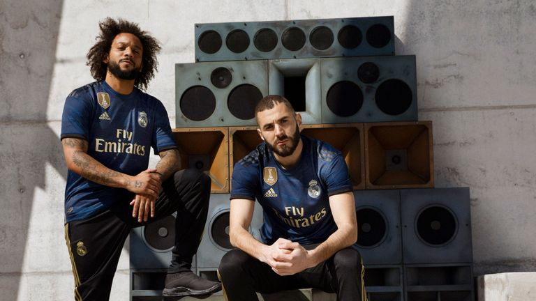 Marcelo and Karim Benzema show off Real Madrid's away jersey for 2019/20