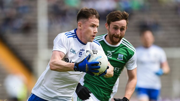 Karl O'Connell of Monaghan in action against Ciaran Corrigan of Fermanagh