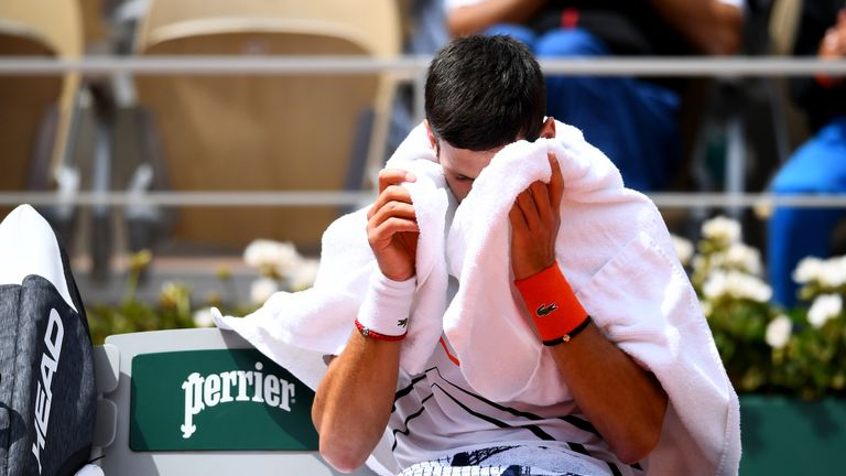 Djokovic had not been beaten on the Grand Slam stage since defeat against Marco Cecchinato at the French Open a year ago