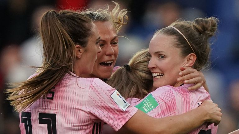 Scotland celebrate Kim Little's opening strike against Argentina
