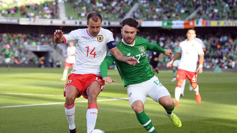 Scott Hogan (right) is still looking for his first goal for his country