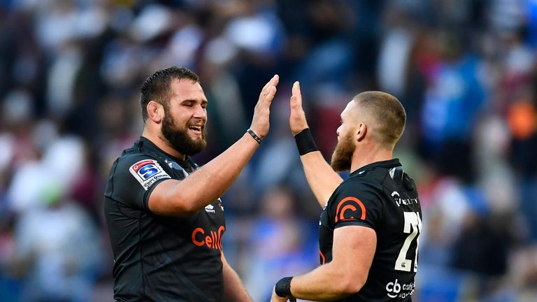 The Sharks celebrate securing a playoff place by beating Stormers
