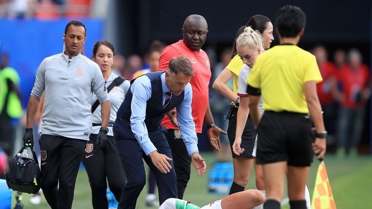 Houghton sustained an injury in stoppage time against Cameroon