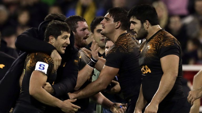 The Jaguares celebrate after making the semi-finals for the first time