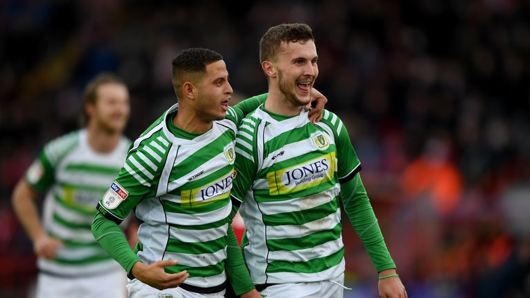 Tom James (R) scored six goals in 38 appearances for Yeovil in League Two last term