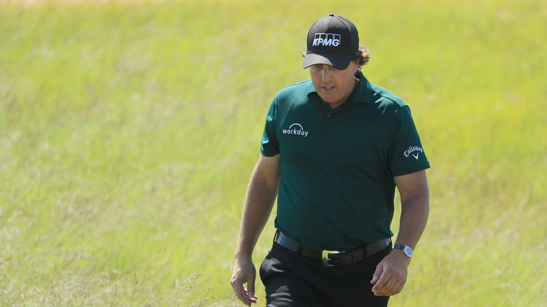 Phil Mickelson was penalised for hitting a moving ball during the third round last year
