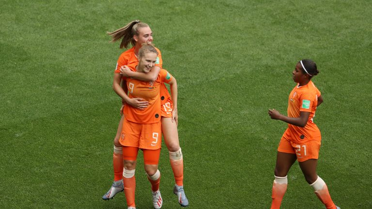 Miedema is congratulated after becoming the all-time top scorer for the Netherlands