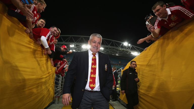 Warren Gatland heads off to the changing rooms after the Lions' series-clinching win over Australia in 2013