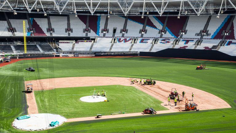 A baseball diamond has been installed at the London Stadium