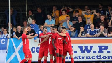 Connah's Quay Nomads' players celebrate their winner against Kilmarnock