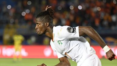 Wilfried Zaha wheels away after scoring Ivory Coast's winning goal against Mali in the last-16 at the Africa Cup of Nations