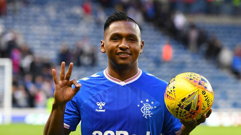 Alfredo Morelos took home the match ball following his hat-trick