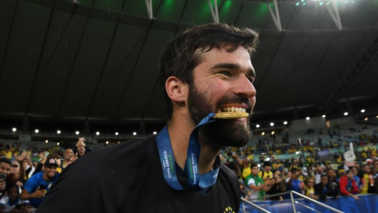Alisson Becker won the Copa America with Brazil and the Champions League with Liverpool this year