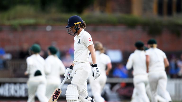 Amy Jones made a Test-career-best 62 before becoming Sophie Molineux's second wicket