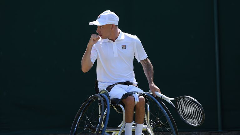Andy Lapthorne celebrates sealing his spot in the singles final