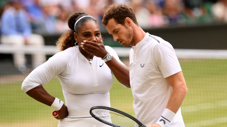 Murray and Serena Williams have progressed to the second round of the Wimbledon mixed doubles