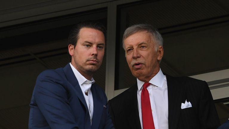 Arsenal owner Stan Kroenke (right) with son and club director Josh Kroenke