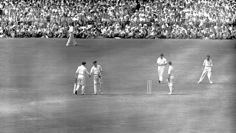 Arthur Morris (182) and Don Bradman (173 not out) put together an extraordinary second-wicket stand