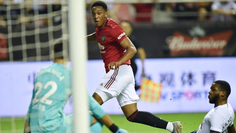 Anthony Martial scored the opening goal for Man United in Shanghai