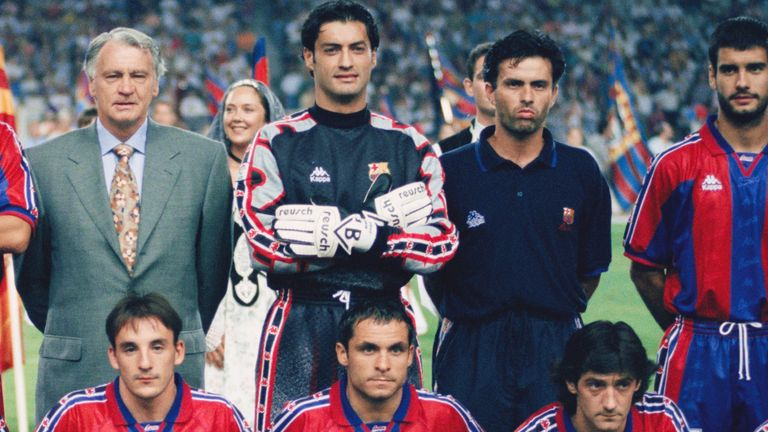 Back in 1996: Jose Mourinho coached at Barcelona while Pep Guardiola was a player under manager Sir Bobby Robson