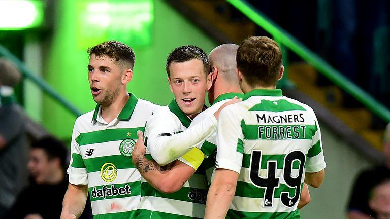 Callum McGregor celebrates after scoring for Celtic against Sarajevo