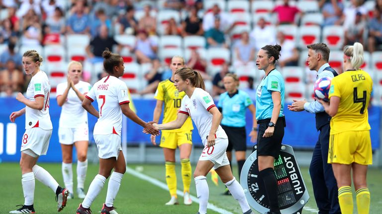 Karen Carney comes on for her final match before retirement