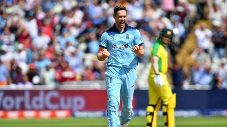 Chris Woakes removed David Warner and Peter Handscomb early on at Edgbaston