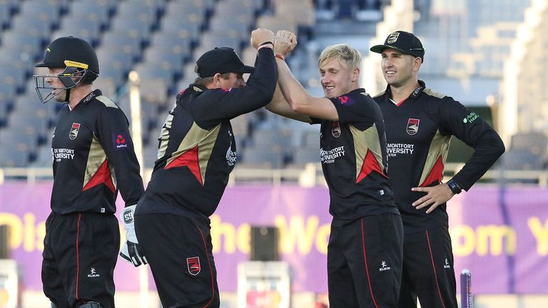 Callum Parkinson celebrates a wicket for Leicestershire Foxes