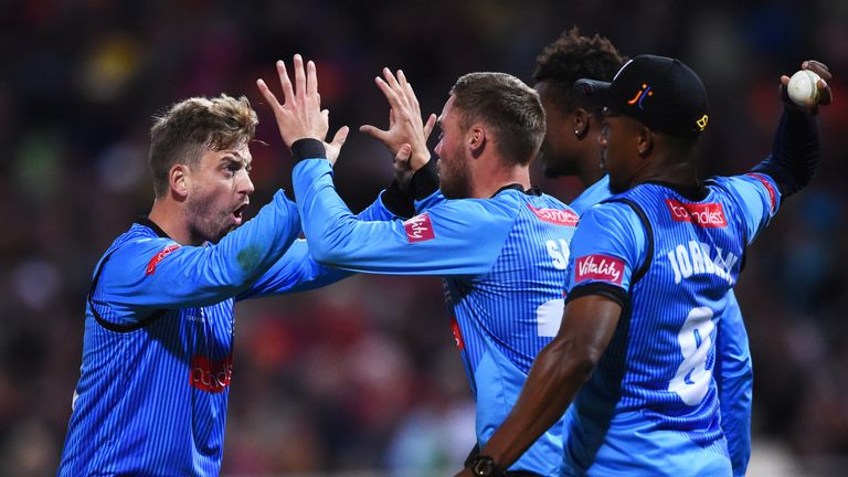 Sussex's Will Beer (left) celebrates a wicket in the 2018 Vitality Blast final against Worcestershire